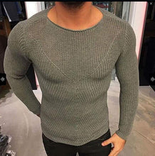 Load image into Gallery viewer, Mens Fashion Round Collar Slim Thin Knit Shirt Sweater