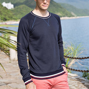 Fashion Mens Solid Color Casual Stripe T Shirt