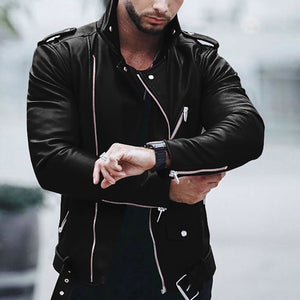 Fashion Mens Slim Leather Outerwear