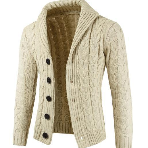 Mens Casual Loose Plain Thick Sweater Coat