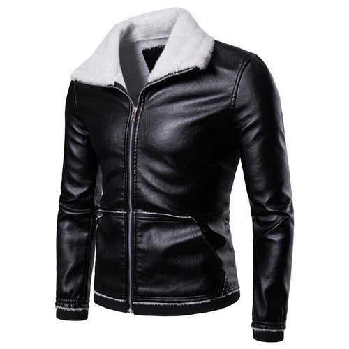 Mens Fashion Cool Leather Lamb Woolen Thicken Jackets Coat