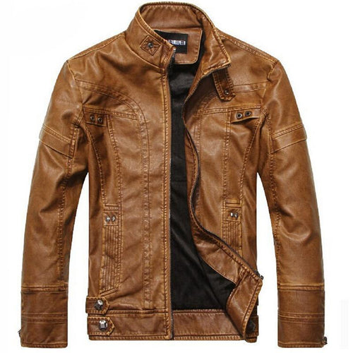 Mens Plus Size High Quality Motorcycle Classic Leather Jacket