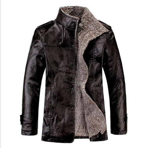 Stylish Casual Youth Thermal Leather Jacket Button Long Sleeve Mens Outerwear