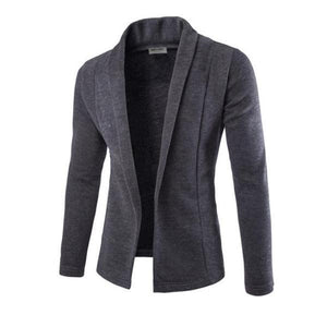 Business Fashion Slim Plain V Collar Long Sleeve Suit Men Outerwear