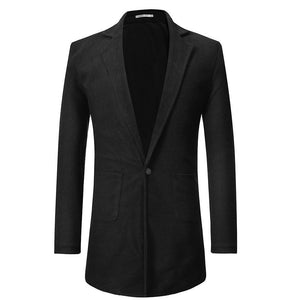 Fashion Plain One Button Slim Long Suit Coat