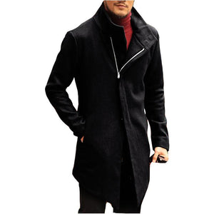 Fashion Mens Solid Color Stand Collar Outerwear