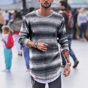 Fashion Mens Stripe Gradient Ramp Knit Sweater