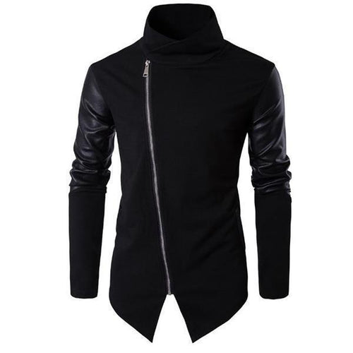 Fashion Mens Youth Slim Leather Zipper Front Long Sleeve Men Outerwear
