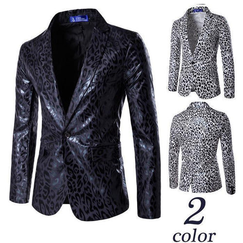 Mens Leopard Print Slim Fit Leather Blazer