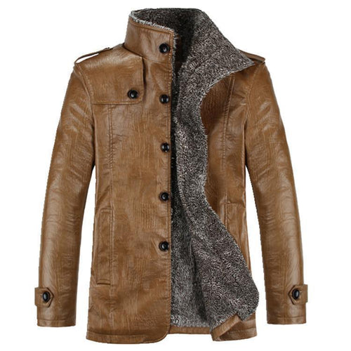 Mens Classic Fur PU Leather Jacket