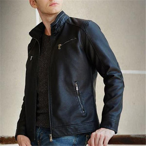 Mens Stylish Casual Slim Plain  Leather Jacket Outerwear