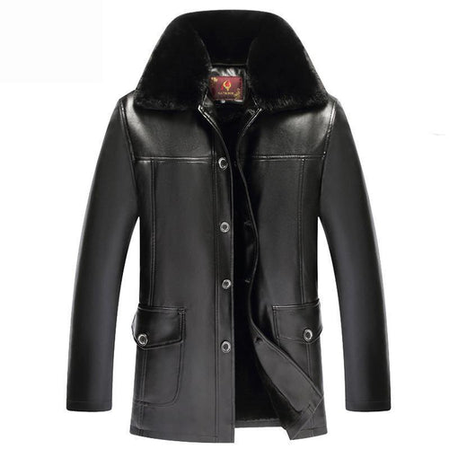 Mens Fur Neck  Thicken Leather Jacket