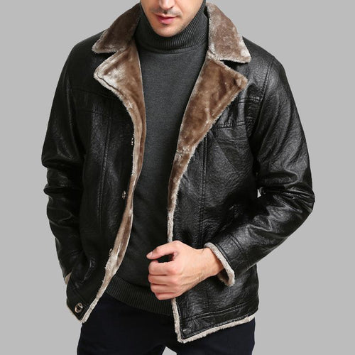 Mens Classic Thicken Fur   Leather Jacket