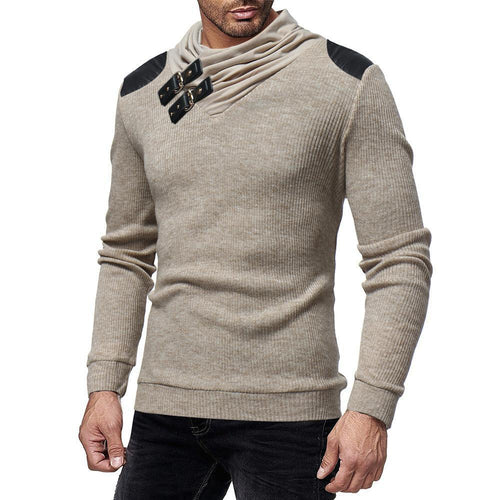 Mens  Fashion Casual Gored Knitting Long Sleeves Round Collar Slim Plain Sweater