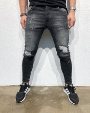 Load image into Gallery viewer, Stylish Black Slim Contrast Jeans