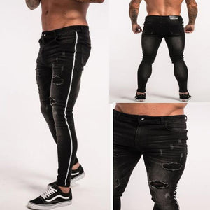 Male Hole Black Men's Feet Stretch Jeans