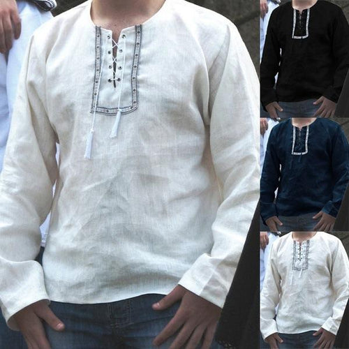 Ethnic Style Men's Shirt V-Neck Loose Casual Cotton Shirt