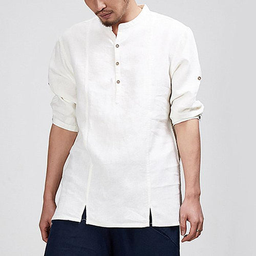 Men's Long Sleeve Lapel Shirt Cotton Casual