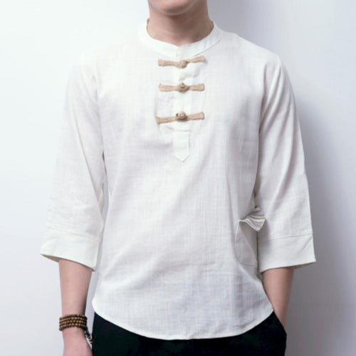 Cotton/Linen Men's Linen Vintage Chinese Style Buckle 7 Points Sleeve T-Shirt