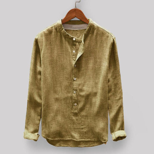 Long-Sleeved Solid Color Cotton Men's Shirt