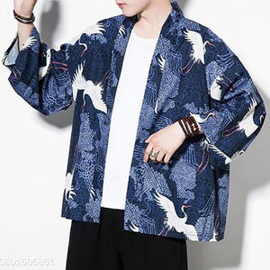 Fashion Mens Vacation Casual Ethnic Style Loose Floral Short Sleeve Cardigan Outerwear