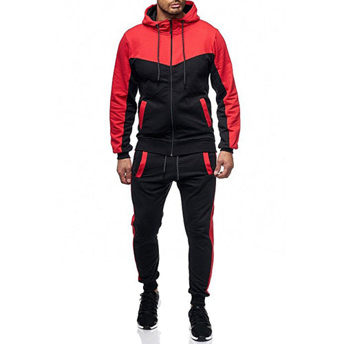 Men's Casual Hooded Start Sweater Set