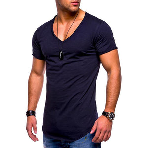 Mens Basic Plain V-Neck Short Sleeve T-Shirt