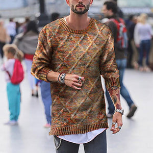 Fashion Mens Casual Rhombus Sweaters