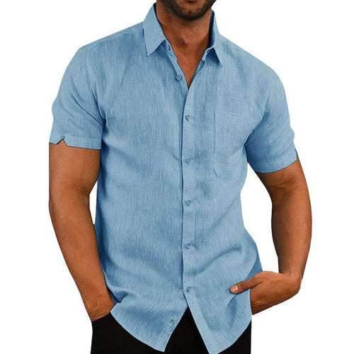 Summer Plain Lapel Business Mens Shirt