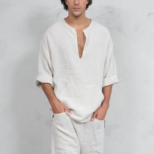 Casual Cotton/Linen V Neck Loose Mens T-Shirt