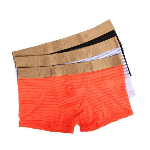 Striped Mesh Transparent And Comfortable Gold-Rimmed Men's Boxer