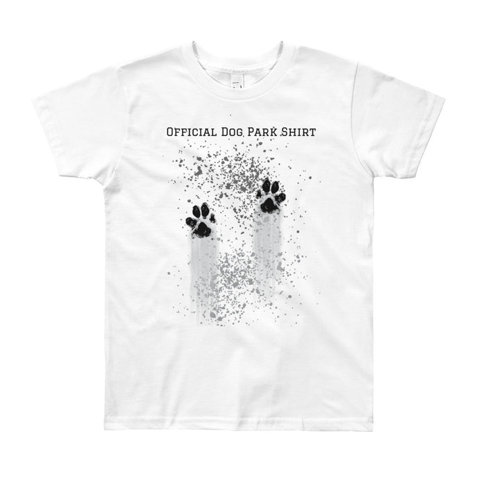 Youth Short Sleeve T-Shirt with 'Always Be PAWS-itive!' on back.