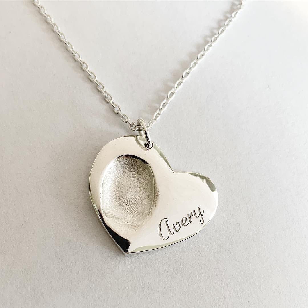 Single Print Heart Fingerprint Necklace