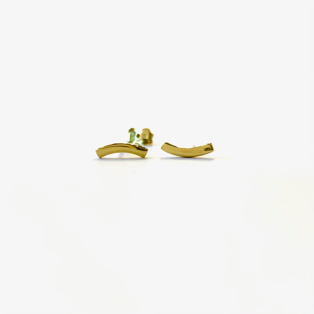 Gold Curved Bar Studs