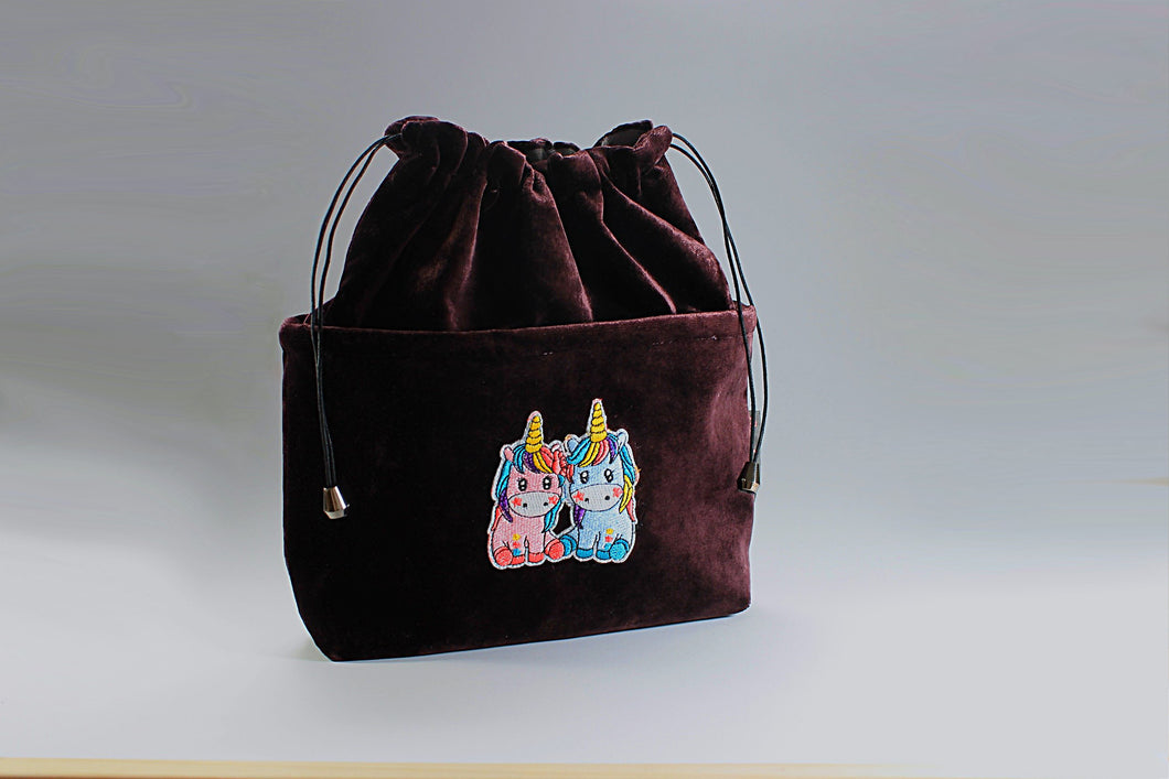 Handbag Organiser in Repurposed Red Velvet Pair of Unicorns - Bag All Done