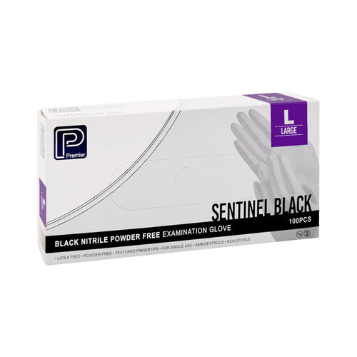Premier Black Nitrile Gloves - Large - Latex Free - Oil Resistant