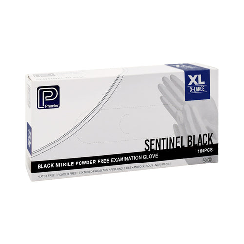 Premier Black Nitrile Gloves - Extra Large -Oil Resistant