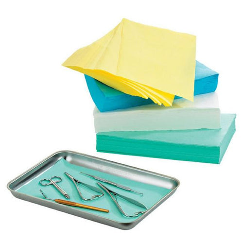 Disposable, absorbent paper for lining instrument trays