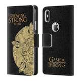 Official HBO Game of Thrones House Mottos Leather Book Wallet Case Cover For Apple iPhone X / iPhone XS