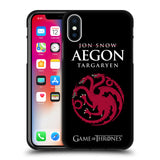Official HBO Game of Thrones Graphics Black Soft Gel Case for Apple iPhone X