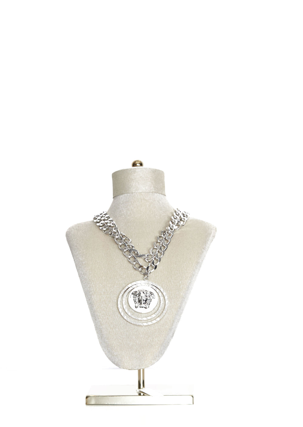 Versace Mens Silver Medusa Head Chain