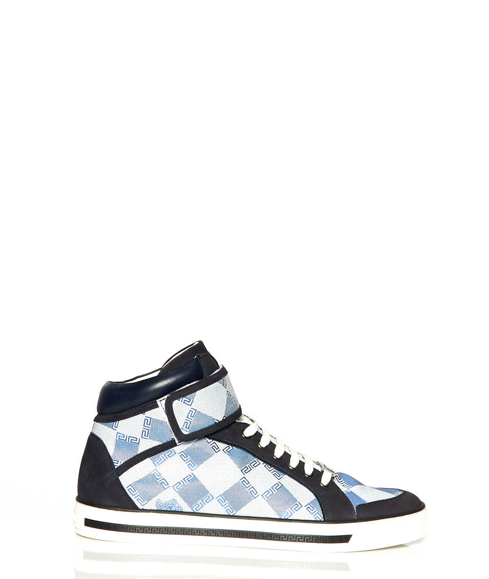 VERSACE BLUE AND WHITE HIGH TOP SNEAKER