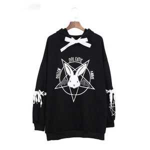 Harajuku Pentagram Print Lace Up Women Fleece Hoodie