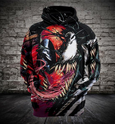 Marvel 3D Printed Unisex Venom/Deadpool Hoodies