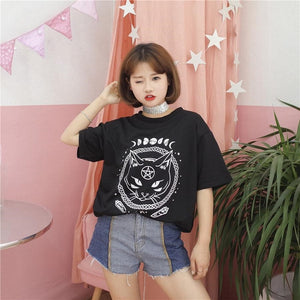 Harajuku Gothic Moon Phase Witchcraft Cat Printed T-Shirt