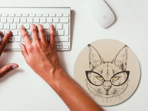Cat Hipster Mousemat