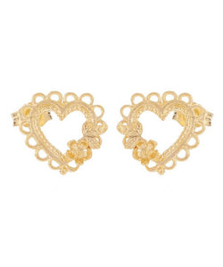 Alex Monroe Lace-Edged Heart & Flower Stud Earrings