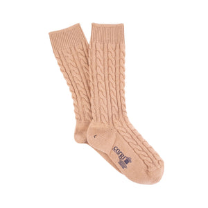 Corgi Women's Luxury Hand Knitted Prince of Wales Cable Pure Cashmere Socks