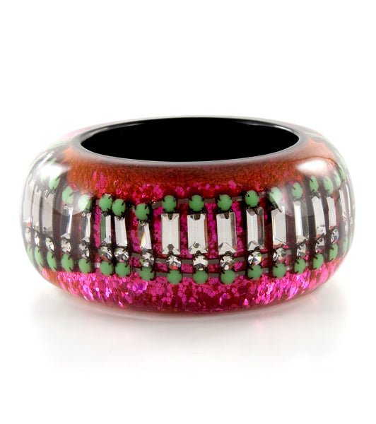 Nicholas King Large Resin Crystal Bangle