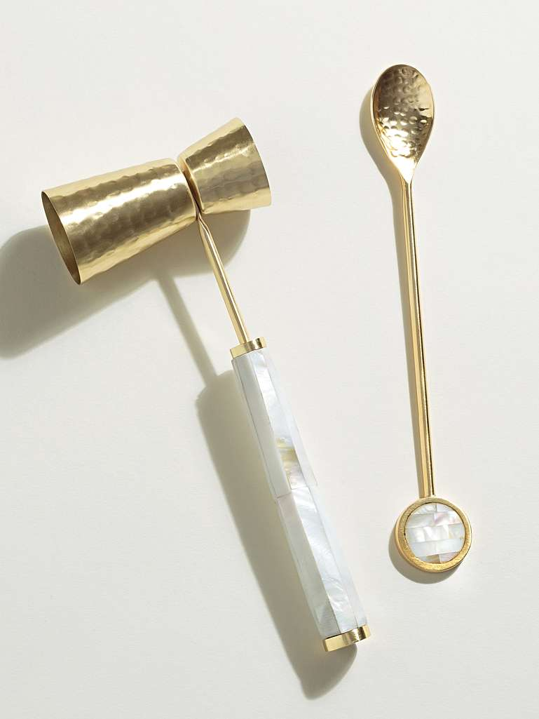 Oliver Bonas Mother of Pearl Cocktail Jigger & Spoon Set of Two